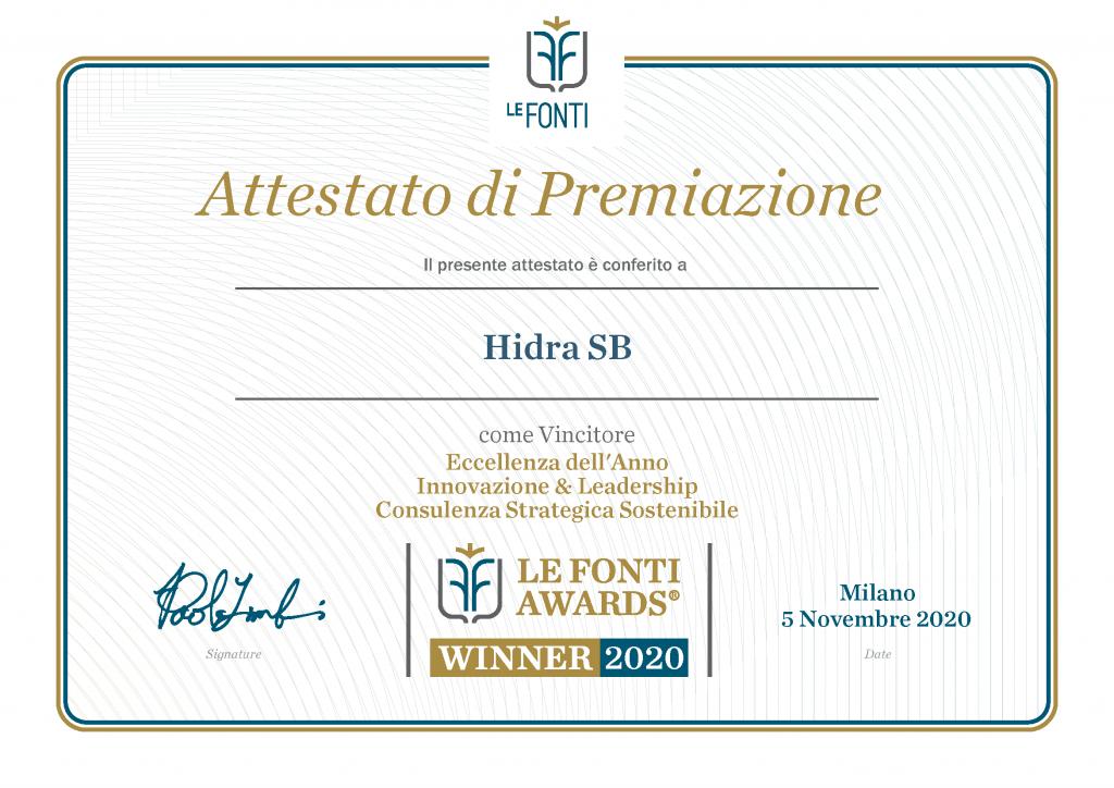attestato premiazione HIDRA
